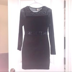 Black Mesh Cut Outs Body Con Dress